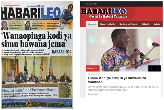 HabariLeo print and online headlines - 22/7/13