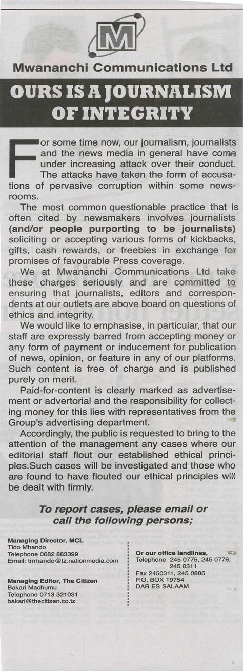 """A journalism of integrity"", from Mwananchi, 15/08/2013"